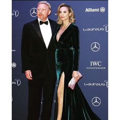 Lilly Becker wowed in plunging velvet green gown alongside her husband Boris on Monday evening at the Laureus World Sports Awards in Berlin Tennis Legends, Sports Awards, Curly Afro, Green Gown, Looking Stunning, Backless, Fashion Tips, Fashion Design, Velvet
