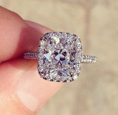 Halo Inline Ring || Cushion Cut Diamond Halo Ring With White Diamonds In 14k White Gold...yes. Perfect.