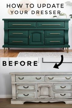 DIY Dresser Makeover A Much Needed Dresser Update HELLO beautiful people! Today's topic is my green dresser! I was so scared and excited to give this dresser a makeover! Because I never cut the bottom Diy Furniture Table, Diy Furniture Plans, Refurbished Furniture, Design Furniture, Repurposed Furniture, New Furniture, Wooden Furniture, Painting Furniture, Furniture Stores