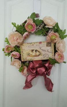 Easter Spring Grapevine Wreath~French Floral Decor~Removable Easter Plaque~Roses