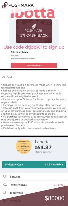 Save 5% when you Shop with Ibotta Do you love saving money? Each purchase you make by launching Poshmark from Ibotta will result in a 5% discount? Don't have an Ibotta account, just use code DTJADWI and sign up. Want to invite more friends AFTER you sign up. Just go to your account tab at the bottom of the app and invite friends. This app gives you cash back!!! Happy Poshing 😊 Other
