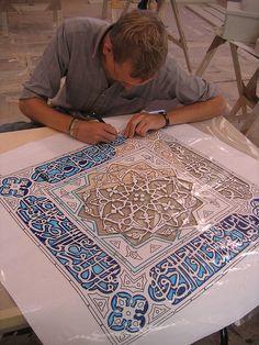 Arabian Nights: the stencils We've been described by the carpenters as looking like a quilting b. Stencil Patterns, Stencil Designs, Pattern Art, Stencils, Stencil Art, Motif Oriental, Afrique Art, Foto Poster, Islamic Art Pattern