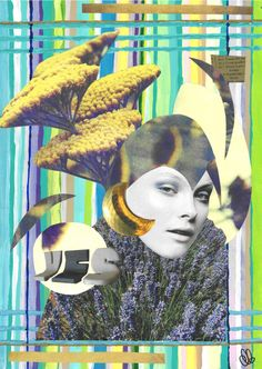 lavender - hand made mixed media collage
