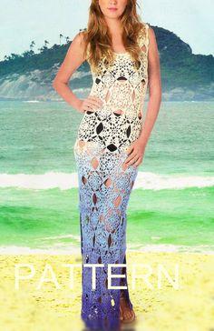 PATTERN long sexy crochet dress summer beach top by CopperLife