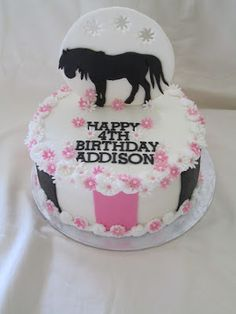 horse theme cakes | the cake is an 8 vanilla cake with strawberry buttercream