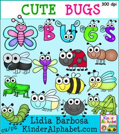 Clip art for teachers: cute bugs! Includes color and black and white images.