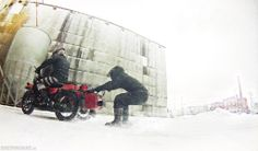 Winter ridin' on a Ural motorcycle sidecar. by Good Spark Garage/Wilkinson Bros