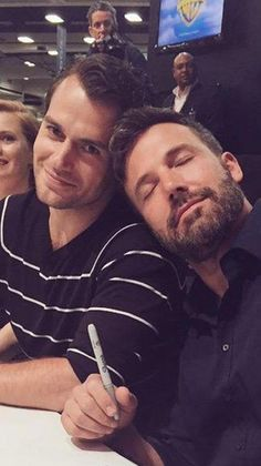 Henry Cavill and Ben Affleck - Superman and Batman - bromance!