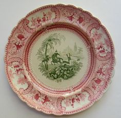 Antique Early Staffordshire 2 Color Transferware Plate Circa 1818-46 - The Great Belzoni - Stag Hunting by Nancy's Daily Dish