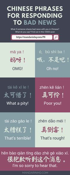 7 Phrases for Responding to BAD NEWS in Mandarin Chinese - Mandarin HQ # learn chinese mandarin 7 Phrases for Responding to BAD NEWS in Mandarin Chinese - Mandarin HQ Learn Chinese Alphabet, Learn Chinese Characters, Learn Chinese Language, Spanish Alphabet, Japanese Language, Chinese Slang, Chinese Phrases, Chinese Meme, Chinese Quotes