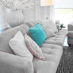 Grey Turquoise Sofa Living Room Design Ideas, Pictures, Remodel, and Decor