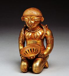 Figurine of a maiden form Colombia(Sinu) Colombia(Sinu)  Gold 14th century  Height 19cm