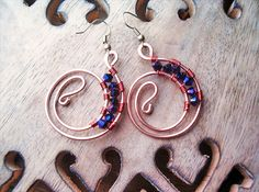 Wire Wrapped Earrings Copper and Quartzite by GearsFactory on Etsy, €17.00