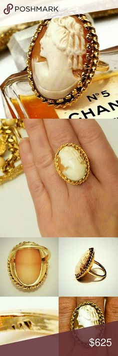 "VTG 14K Yellow Gold Hand-Carved Cameo Ring- 6.5 Outstanding Vintage 14K Yellow Gold Hand-Carved Cameo Ring. This beautiful vintage cameo ring is crafted in olid 14K yellow gold (stamped in the shank). This shell cameo features a detailed hand-carving of an elegant lady (no chips or dents) and is set in a thick gold bezel with intricate detail. The face of the ring measures approximately 1.25"" x 1"". Weighs approximately 11 grams. Size 6.5.  Spectacular condition. Vintage Jewelry Rings"