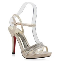 FIND Sandalen Damen mit Pfennigabsatz und Knouml;chelriemchen  39 EUBeige (Nude)