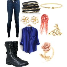 Combat boots with fall outfit