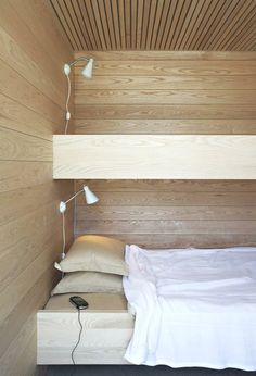 Architecture, Architecture Home Interior Design Bedroom Bedstead Mattress Pillows Wooden Wall Wall Lamp Wooden Ceiling Coverlet Wooden Beadb...