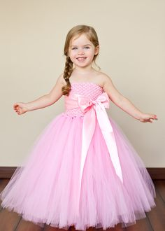 Flower Girl Tutu Dress in Chic Pink with by TheLittlePeaBoutique