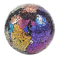 Pier One multi-color glass mosaic sphere.it would be completely unecessary to have a bowl of these in my livingroom, but i them Mosaic Art, Mosaic Glass, Glass Art, Garden Deco, Garden Art, Mosaic Designs, Mosaic Ideas, Decorative Spheres, Different Forms Of Art