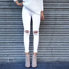 Jeans. White. Boots. Gray. Classy casual