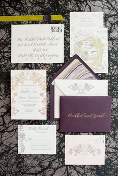 Mikkel Paige Photography image of a wedding invitation suite in purple, grey and copper by One and Only Paper. Calligraphy by Quietude Co in Raleigh, NC. Velvet yellow-green chartreuse ribbon and custom wax seals with the couples greyhound dog were included. The envelope liner was agate gem marble inspired. @mikkelpaige @oneandonlypaper