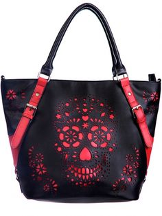 "Women's ""Cute Skull"" Shoulder Bag by Banned Apparel (Black/Red) #inekdshop #skull #cute #red #design #purse #tote #bag"