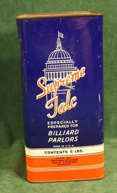 Vintage Supreme Talc Billiard Parlors 5 lb Tin Pool Chalk U.S. Capitol Very Nice