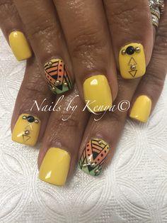 Yellow Ombre w/Aztec Nail Design!!! #ombrenails #aztecnails