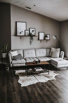 59 grey small living room apartment designs to look amazing 52 Modern Decoration modern living room decor Design Living Room, Living Room Grey, Home Living Room, Cozy Living, Simple Living, Cow Hide Rug Living Room, Small Apartment Living, Small Living Rooms, Living Spaces
