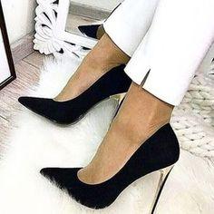 Trendy Black Slip-On Pointed Toe Stiletto Heels Shoespie Trendy Black Slip-On Tacones de aguja con punta en punta Platform High Heels, Black High Heels, Black Stiletto Heels, Black Slip On Shoes, Black Boots, Lace Up Heels, Pumps Heels, Prom Heels, Sandal Heels