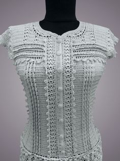 Gray handmade women lace mini casual or special occasion or… Grey handmade ladies lace mini informal or special day natural cotton crochet gown. The elegant crochet gown Lexie of chilly grey shade is executed on authorsA good head start on putting Crochet Shirt, Cotton Crochet, Crochet Lace, Crochet Stitches, Crochet Patterns, Crochet Wedding Dress Pattern, Crochet Bodycon Dresses, Black Crochet Dress, Vanessa Montoro