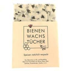 Integra Vorarlberg Bio Bienenwachstücher-Set Bienen - Speisen natürlich verpackt. Die Alternative zu Alu- und Plastikfolie Ideal zum Einwickeln von Wurst, Käse, Obst, Gemüse, Pausenbroten, Snacks u.v.m.  Das Set bestehet aus 2 Tücher ca. 17x17cm, 1 Tuch ca. 27x27cm und 1 Tuch 37x37cm.  #bienewachstuch #bienenwachstücher #integra #vorarlberg #bienenwachs #bio #nachhaltig #natürlichverpackt #Wiederverwendbar #zerowaste Snacks, Drinks, Food, Oilcloth, Packaging, Presents, Products, Drinking, Appetizers