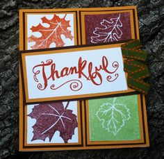 Handmade Fall Colored Thankful card - Blank inside Thanksgiving Card | LilBitOLove - Cards on ArtFire