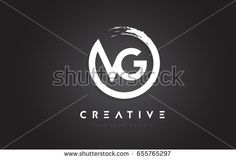 VG Circular Letter Logo with Circle Brush Design and Black Background.