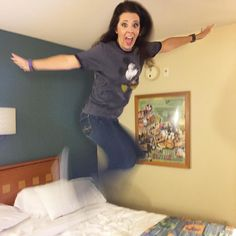 Look ma no legs! What else would I do on vacation? Ya gotta jump in the bed!!! Anyone else do this? #bigkid #themartinsdodisney