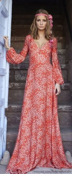 Boho Style - not a huge fan of that super plunge neckline, but love the shape and color!