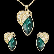 Unique Jewelry - African Bridal Jewelry Set 18k Gold Plated Emerald CZ Necklace Earrings Wedding