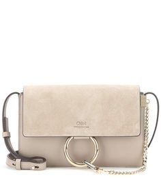 Faye Small greyish beige leather and suede shoulder bag