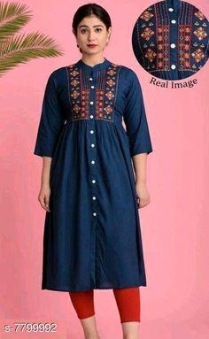 Kurtis & Kurtas Women's Embroidered Rayon Kurti Fabric: Rayon Sleeve Length: Three-Quarter Sleeves Pattern: Embroidered Combo of: Single