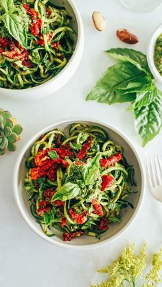 Healthy Zucchini Pasta with Pesto & Sun Dried Tomatoes