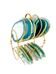Teal Blue Gold Trim Agate Slice Coasters & Caddy | High Quality Natural Brazilian Sliced Agate | Set of 6 by ELECTRICmarigold on Etsy