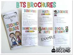 This EDITABLE brochure is perfect for Back to School Night or Open House. It can be used to inform your parents of classroom procedures , your educational overview for the entire year, list important information, and even supply/wish lists! Back To School Night, Back To School Hacks, 1st Day Of School, Beginning Of The School Year, Back To School Activities, School Ideas, School Stuff, School Tips, High School