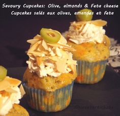 Savoury cupcakes: olive, feta and almonds Savory Cupcakes, Almond Cupcakes, Savory Muffins, Gourmet Cupcakes, Cupcake Flavors, Savoury Cake, Mini Cupcakes, Olives, Cheese Snacks