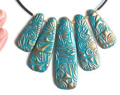 Turquoise and copper polymer clay necklace and earing set - polymer clay jewelry