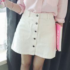 White Short Summer Skirt SK006190