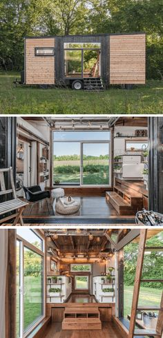Alpha tiny house on wheels design ideas Alpha kleines Haus auf Rädern De… Tyni House, Tiny House Cabin, Tiny House Plans, Tiny House On Wheels, Modern Tiny House, Tiny House Design, Small Tiny House, Small Houses, Tiny House Movement