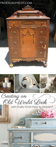 Diamond in the Rough Thrifted Dresser is damaged and missing parts, but with a little TLC, it now showcases an Old World Look by Prodigal Pieces www.prodigalpieces.com #prodigalpieces #shabbychicdressersmakeover