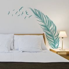 Feather With Birds Wall Sticker by Notonthehighstreet.com - Found on HeartThis.com @HeartThis | See item http://www.heartthis.com/product/170643935818550348?cid=pinterest