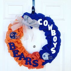 NFL House Divided Burlap Wreath  Chicago by AllAboutTheBurlap