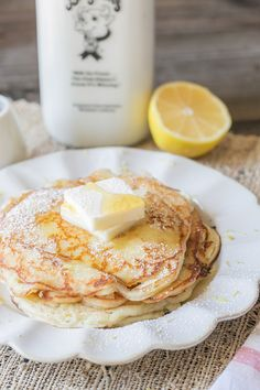 Lemon ricotta pancakes with homemade ricotta